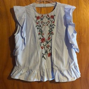 Zara embroidered top with open back size XL